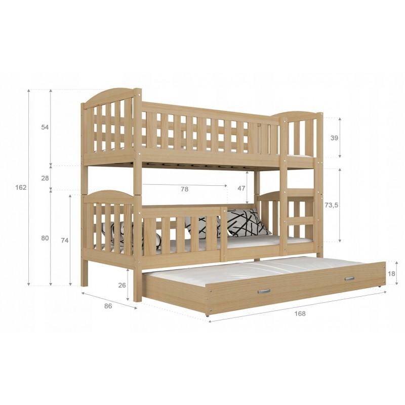 Cama litera con cama nido jacob 3 160x80 cm camas literas para 3 pe - Literas nido 3 camas ...
