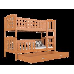 Cama litera de madera maciza Jacob 2 con cajón 160x80 cm