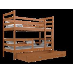 Cama litera de madera maciza Jack con cajón 190x80 cm