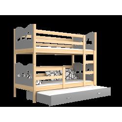 Cama litera con cama nido 190x80 cm Trenecito Mariposas Corazones