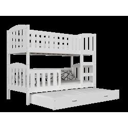 Cama litera con cama nido de madera maciza Jacob 3 200x90 cm