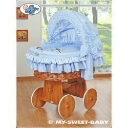 Minicuna de mimbre Osito - Azul
