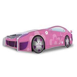 Cama coche niña Flores Rosas con colchón 180x80