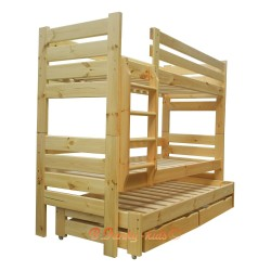 Cama litera con cama nido Gustavo 3 con cajones y colchones 200x80 cm