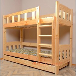 Cama litera de madera maciza Inez con cajón 180x90 cm