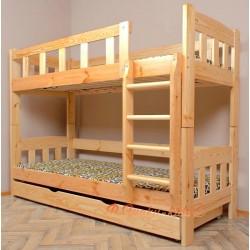 Cama litera de madera maciza Inez con cajón 200x90 cm