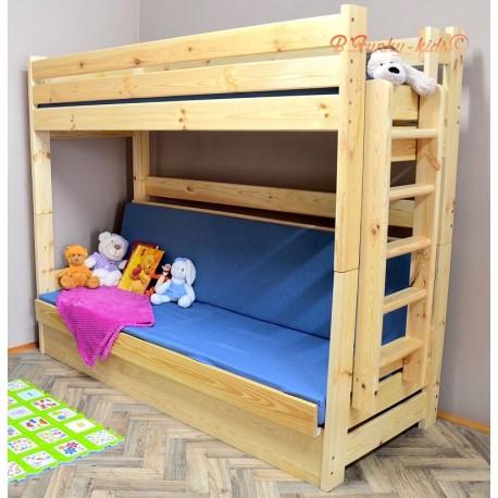 Cama litera de madera maciza Carlos con cajón y colchones 200x90 cm