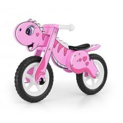 Dino rosa - bicicleta de madera sin pedales