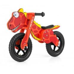 Dino rojo - bicicleta de madera sin pedales