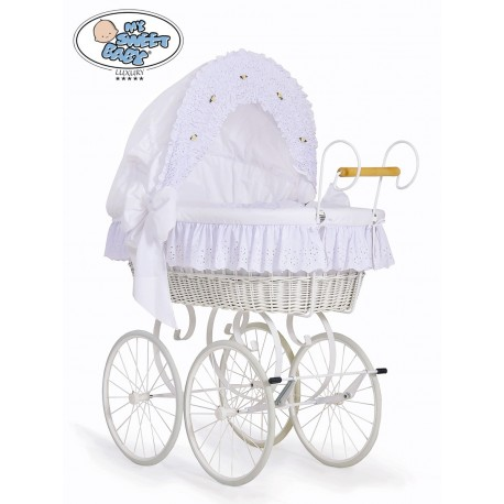 Cuna moisés bebé de mimbre Vintage Retro - Blanco