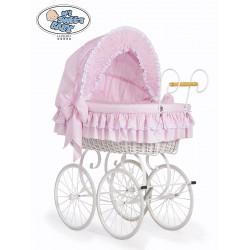 Cuna moisés bebé de mimbre Vintage Retro - Rosa-Blanco