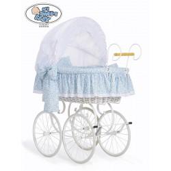 Cuna moisés bebé de mimbre Vintage Retro - Blanco-Azul