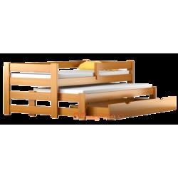 Cama nido de madera maciza con cajón y colchones Pablo 160x70 cm